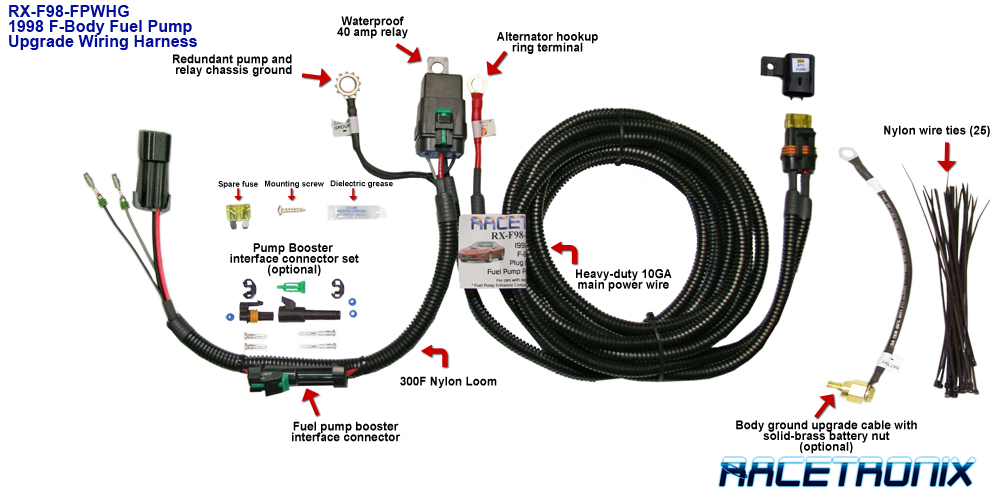 racetronix fpwh 002 f98 fuel pump wiring harness